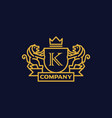 coat of arms letter k company vector image vector image