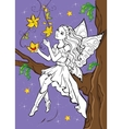 Coloring Book Of Fairy Elf Sitting On Branch vector image vector image
