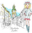 fashion girl in stockholm vector image vector image
