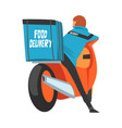 food delivery guy carrying backpack box back view vector image