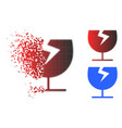fractured pixelated halftone broken glass cup icon vector image