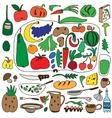 fruits and vegetables natural food - doodles set vector image vector image