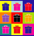 gift sign pop-art style colorful icons vector image
