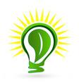 green eco light bulb leaf logo vector image vector image