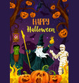 halloween pumpkin zombie mummy and wizard vector image vector image