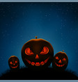 halloween pumpkins night vector image vector image
