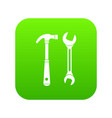 hammer and wrench icon digital green vector image vector image