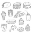 hand drawn fast food vector image vector image