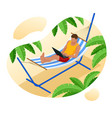 isometric young man working on beach vector image