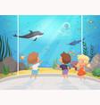 kids in aquarium children with teacher in big vector image vector image