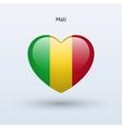 Love Mali symbol Heart flag icon vector image vector image