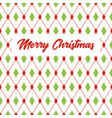 merry christmas greeting card with rhombus pattern vector image
