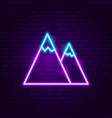 mountain neon label vector image vector image