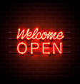 neon welcome open signboard vector image vector image
