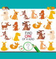 one of a kind task with cartoon dogs vector image vector image