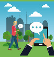 people chatting on smartphone vector image vector image