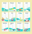 planner calendar template with cute animals vector image