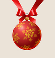 red Christmas ball with a pattern hanging on a red vector image vector image