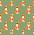 red fox on green background vector image vector image