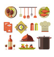 restaurant kitchen elements colorful set isolated vector image vector image