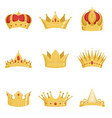 royal golden crowns set symbols of power vector image vector image
