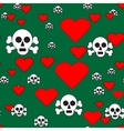 Sculls and Hearts on Green Seamless Pattern vector image