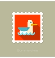 Seagull flat stamp with long shadow vector image
