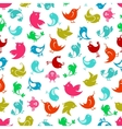 Seamless colorful funny birds pattern vector image