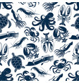 seamless pattern sea animals fishing catch vector image vector image