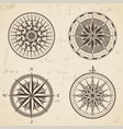 set of vintage antique wind rose nautical compass vector image vector image