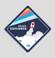 space explorer launch rocket with moon background vector image vector image