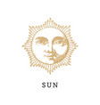 the sun hand drawn in engraving style vector image