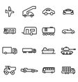 thin line icons - vehicles vector image