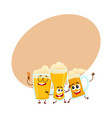 three funny smiling beer glass and mug characters vector image vector image
