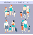 Tourist People 3D Flat Isometric Set 01 vector image vector image