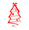 christmas tree red logo isolated vector image