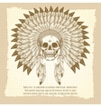 Vintage skull in feathers headdress poster vector image