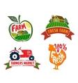 farm labels vector image
