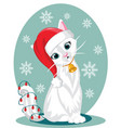 a cat character sitting down with santa hat flat vector image vector image