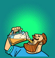 bearded man drinking a mug beer vector image vector image