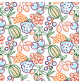 berries seamless pattern food outline vector image vector image