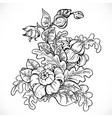 black and white drawing fantasy flower on white vector image vector image