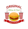 cheeseburger with soda drink fast foodd emblem vector image