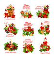 christmas holiday icon for happy new year card vector image vector image