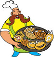 comic cook with pizza and pie in the hands vector image