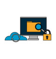 computer file cloud storage security vector image vector image