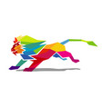 creative abstract colorful lion logo vector image vector image
