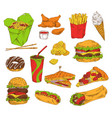 fast food and snack set color vector image vector image