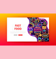 fast food neon landing page vector image vector image