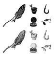 fishing fish shish kebab fishing set collection vector image vector image